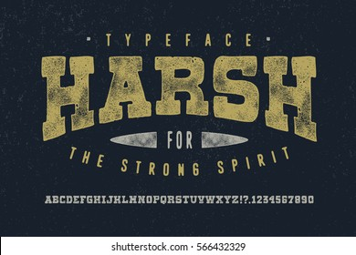 HARSH FONT crafted retro vintage typeface design. Original handmade textured lettering type alphabet on navy background. Authentic handwritten font, vector letters.