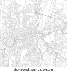 Hartford, Connecticut, USA, bright outlined vector map with bigger and minor roads and steets created for infographic backgrounds.