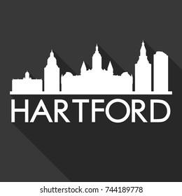Hartford Flat Icon Skyline Silhouette Design City Vector Art Famous Buildings