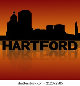 Hartford skyline reflected with text and sunset vector illustration