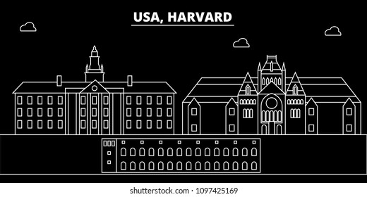 Harvard silhouette skyline. USA - Harvard vector city, american linear architecture, buildings. Harvard travel illustration, outline landmarks. USA flat icon, american line banner