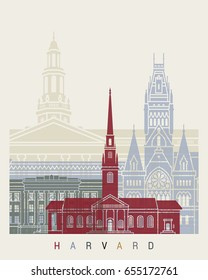 Harvard skyline poster in editable vector file