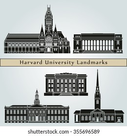 Harvard University landmarks and monuments isolated on blue background in editable vector file