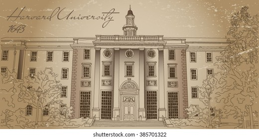 Harvard University. Vector illustration. Old photo