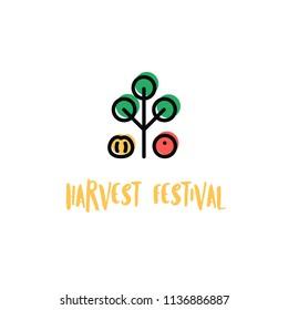 Harvest fest poster design.  Lettering phrase with autumn symbols - pumpkin and apple tree.