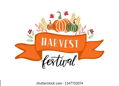 Harvest Festival - hand drawn lettering phrase and autumn harvest symbols. Harvest fest poster design. Vector illustration. Isolated on white background.