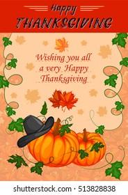 Harvest festival Happy Thanksgiving Day holiday celebration. Vector illustration