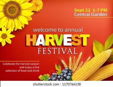 Harvest festival poster design. Invitation for crop fest. Vector illustration.