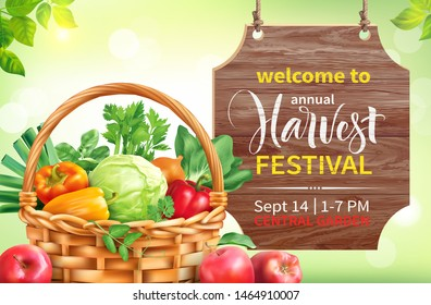 Harvest festival poster design. Invitation for crop fest with signboard and basket with vegetables. Vector illustration.