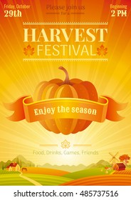 Harvest festival poster. Fall party invitation design. Thanksgiving day - american traditional family holiday. Autumn pumpkin vegetable, landscape background, food, agriculture vector illustration.