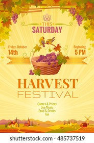 Harvest festival poster. Vineyard autumn landscape background, winemaking farm panoramic view. Fall party invitation design. European wine making tradition, grapes basket. Farming vector illustration