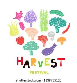 Harvest festival- template banner, poster. Doodle vegetable in cartoon style.  Vector illustration.