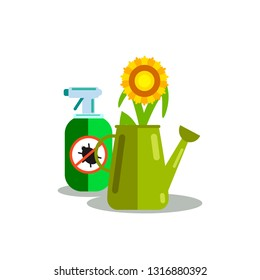 Harvest Insecticide Vector Color Illustration. Herbicide, Pest Control Cartoon Drawing. Anti-Bug Sprayer with Stop Insects Sign. Watering Can with Sunflower, Pesticide Aerosol Isolated Design Element