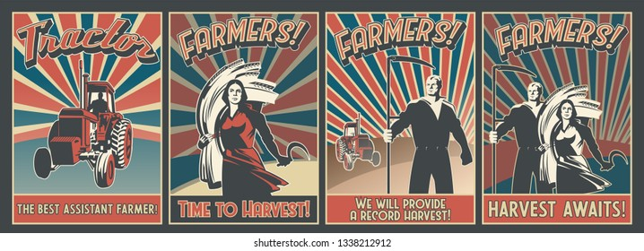 Harvest. A series of posters calling for farmers Vintage Propaganda Style