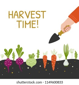 Harvest Time bright banner. Man is harvesting in a field . Modern hand drawn design template. Vector illustration.