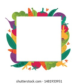Harvest time flat vector square empty frame. Agriculture harvesting. Fall season, ripe vegetables border. Autumn seasonal food, tomato, carrot. Organic farming, eco products banner, postcard template