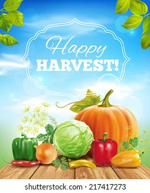 Harvest time sunny background. Vector eps 10.