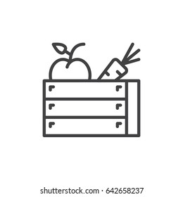 Harvest wooden box line icon, outline vector sign, linear style pictogram isolated on white. Symbol, logo illustration. Editable stroke. Pixel perfect