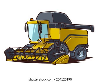 harvester combine cartoon illustration