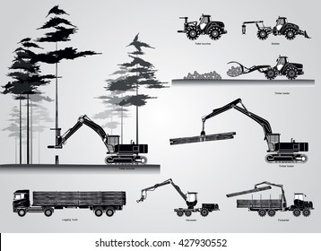 The harvesters. The forestry production machines. Forestry tractors, trucks and loggers hydraulic machinery detailed editable silhouettes illustration collection. Equipment for forestry industry