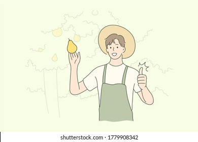 Harvesting, farming, agriculture, nature concept. Old man farmer agricultural worker character holding fruit pear showing like sign. Rural countryside lifestyle and natural food gathering illustration