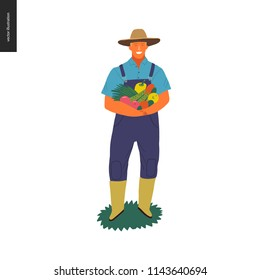 Harvesting people -vector flat hand drawn illustration of an adult man wearing straw hat, overalls and rubber boots holding a pile of green vegetables. Self-sufficiency, farming and harvesting concept