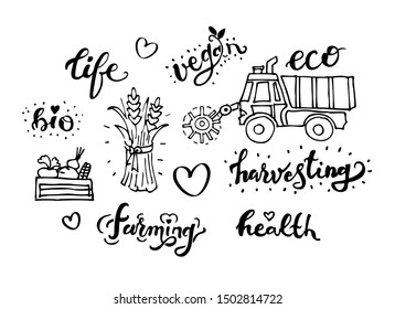 Harvesting related typography set. Quotes about organic eco vegan food.  Farmin, Vegan, Eco, Life, Health, Bio words. Harvest Tractor Combine. Doodle vector illustration.