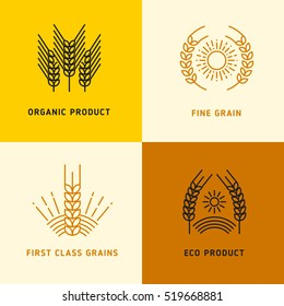 Harvesting vector logos with wheat grains