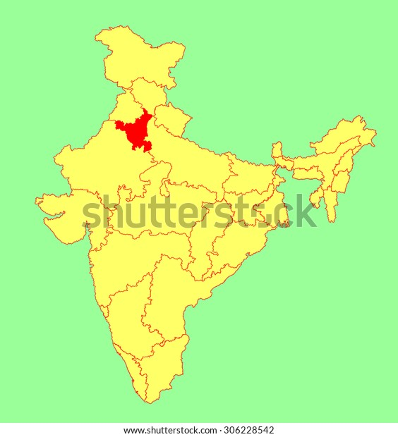 Haryana State India Vector Map Silhouette Stock Vector