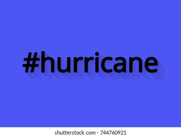 The hash tag hurricane with shadow in flat style