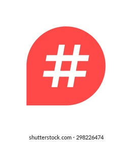 hash tag icon in red bubble. concept of number sign, social media, micro blogging, web communicate, pr, popularity. isolated on white background. flat style trend modern logo design vector illustration