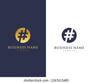 Hash Tag Logo Template, Mild, Simple, Modern Elegant Logo Vector Design Eps 10 with luxury gold color