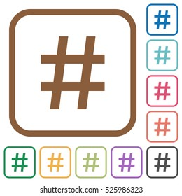 Hash tag simple icons in color rounded square frames on white background
