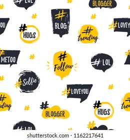 Hashtag bubble seamless pattern with trendy young slang words. Blogging Vector illustration