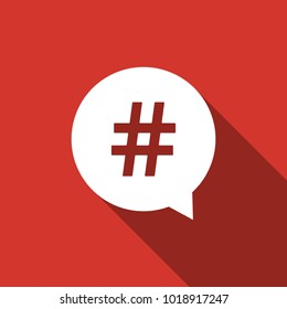 Hashtag in circle icon isolated with long shadow. Social media symbol, concept of number sign, social media, micro blogging pr popularity. Flat design. Vector Illustration