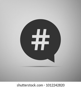 Hashtag in circle icon isolated on grey background. Social media symbol, concept of number sign, social media, micro blogging pr popularity. Flat design. Vector Illustration
