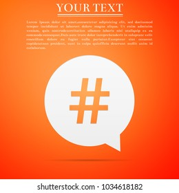 Hashtag in circle icon isolated on orange background. Social media symbol, concept of number sign, social media, micro blogging pr popularity. Flat design. Vector Illustration