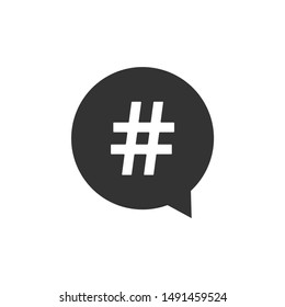 Hashtag in circle icon isolated. Social media symbol, concept of number sign, social media, micro blogging pr popularity. Flat design. Vector Illustration