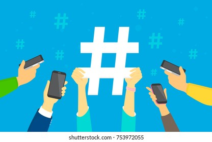 Hashtag concept vector illustration of young men and women using smartphones happy to reposting and publishing new trends in social network. Flat human hands hold big hashtag sign on blue background