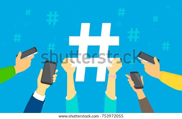 El concepto de hashtag ilustra a jóvenes hombres y mujeres usando smartphones felices de republicar y publicar nuevas tendencias en las redes sociales. Manos humanas planas sostienen un gran signo de etiqueta con fondo azul