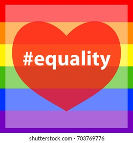 Hashtag equality against pride colors.