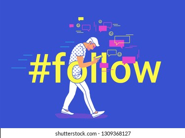 Hashtag follow concept flat vector illustration of young man going and texting messages in mobile messenger app. People addicted to smart phone and social media apps posting images and video hashtags