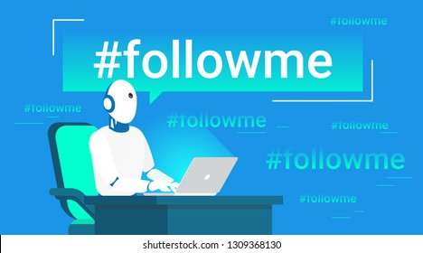 Hashtag follow me concept flat vector illustration of robot assistance for inviting new subscribers. Gradient neon vector illustration of futuristic robot emailing on laptop to engage new subscribers
