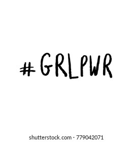 Hashtag Girl Power GRLPWR Hand Lettering Vector Black on White Background