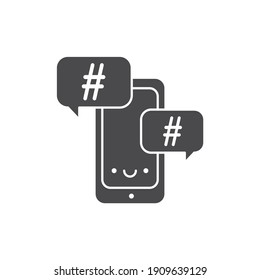 Hashtag glyph black icon. SMM promotion. Sign for web page, mobile app, button, logo. Vector isolated element.