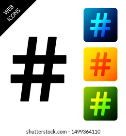 Hashtag icon isolated. Social media symbol. Modern UI website navigation. Set icons colorful square buttons. Vector Illustration