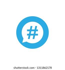 Hashtag icon in speech bubble. Vector flat
