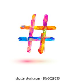 Hashtag icon. Vector colorful triangular symbol on white background