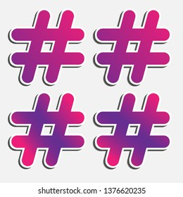 Hashtag icons set. Hash Tag pictograms. Vector icons. eps10