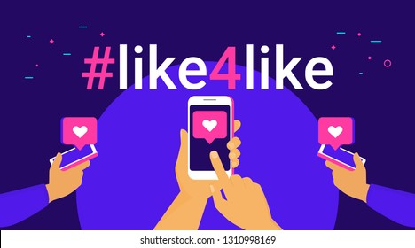Hashtag like for like concept flat vector illustration of human hands hold smart phones and push like button on the screen. Social media hashtag and speech bubbles with heart symbols